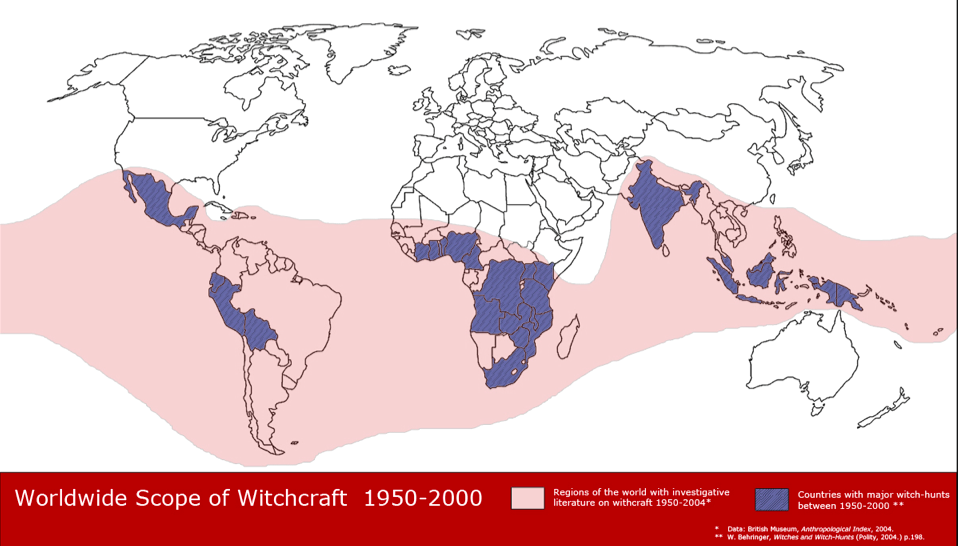 Map of Countries With Witch-Hunts from 1950-2000.